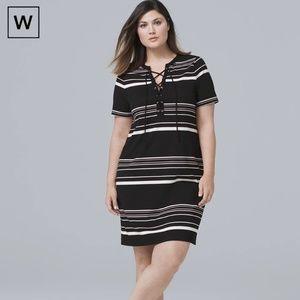 WHBM Stripe Lace-Up Knit Shift Dress